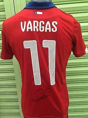 Jersey Chile Signed by Eduardo Vargas Champion Copa América Tigres Photo Proof