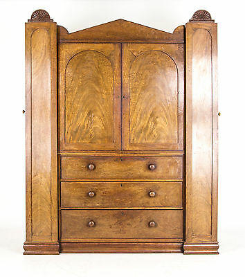 B650 Antique Scottish Regency Armoire, Wardrobe, Linen Press, Cabinet