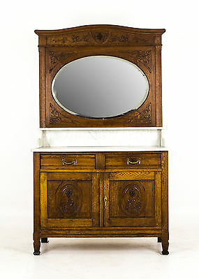 B651 Antique French Oak Marble Top Vanity, Dresser with Large Bevelled Mirror