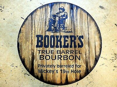 Personalized decorative Sign - whiskey barrel top | Handpainted Booker's Bourbon