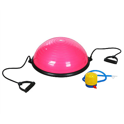 Self Balance Trainer Ball Yoga Bosu Ball with Pump and Straps PINK