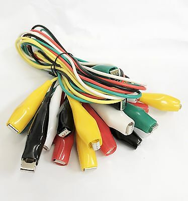 10pc Test Lead Set Alligator Clips Hookup & Lead Electrical Clamps 26 AWG Gauge