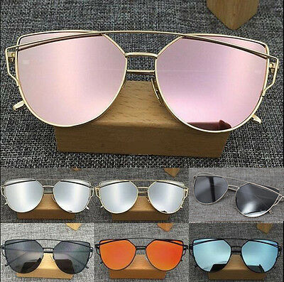 Womens Mirror Sunglasses Oversized Cat Eye HOT Flat Lens  Fashion Metal Frame