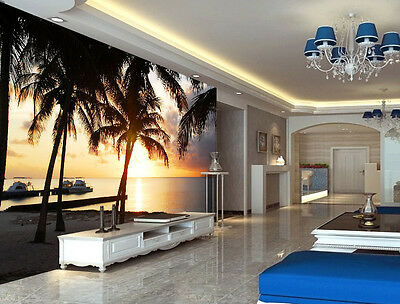 Coconut Palms Tropic  Full Wall Mural Photo Wallpaper Print Kids Home 3D Decal