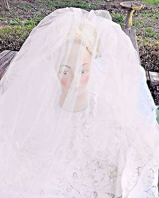 VINTAGE 1950's TIARA WEDDING VEIL WITH FACE COVERING