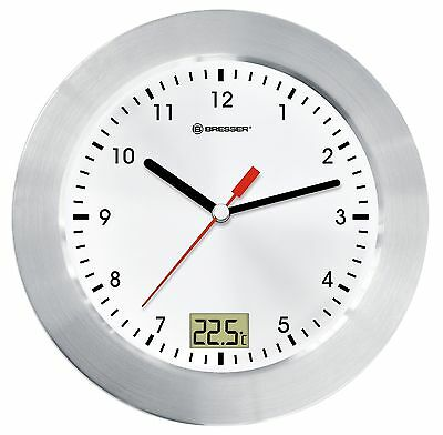 Bresser Wall Clock MyTime Bath for Bathroom with Temperature Display - White/...