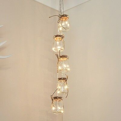 Glass Jar Fairy Lights - Silver Wire - Warm White LEDs - Timer - Battery Powe...