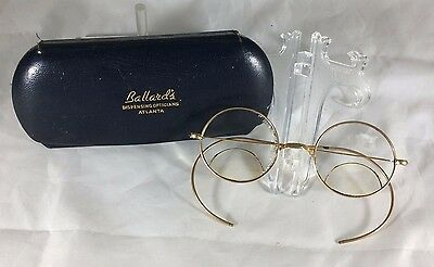 Vintage Eyeglasses Round Wire Frames & Case by Ballard's Opticians Atlanta