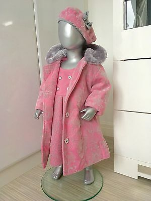 Baby Girl Kids 3 Piece Dress Coat Suit Hat Pink Silver Wedding Faux Fur Collar