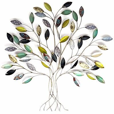 Tree of Life Metal Hanging Wall Art Leaf Leaves Green Home Garden Décor BIG 92cm