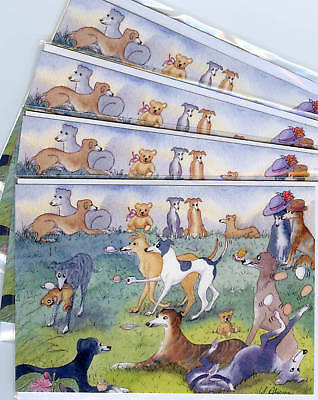 4 x whippet greyhound egg spoon dog art greeting cards