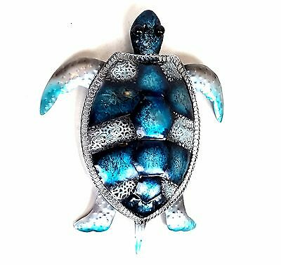 Turtle Metal Hanging Wall Art Sealife Beach Blue Hanging Sculpture Garden 44 cm