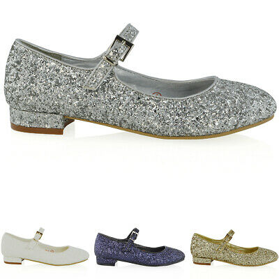 Womens Mary Jane Shoes Bridal Ladies Low Heel Pumps Glitter Party Shoes Size 3-8