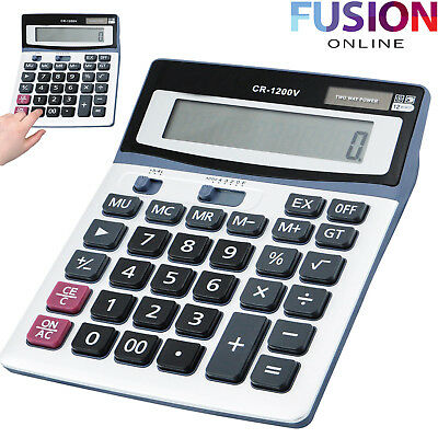 Large Desk Calculator Jumbo Large Buttons Solar Desktop Office Battery Angled