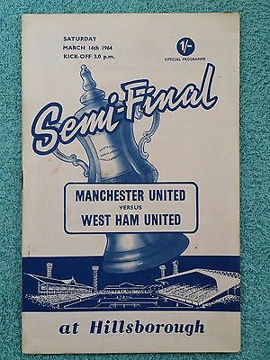 1964 - FA CUP SEMI FINAL PROGRAMME - MANCHESTER UNITED v WEST HAM