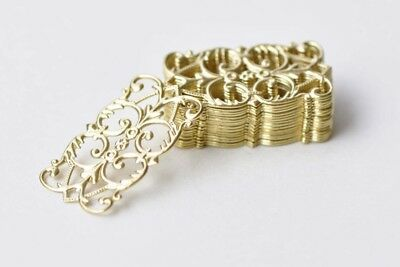 30 pcs Raw Brass Rectangle Floral Stamping Embellishments A8568