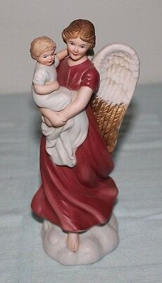HOMCO Angel Holding Baby Boy Porcelain Figure, Excellent Condition