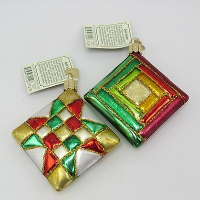 Quilt Quilting Squares Merck Old World Glass Christmas Ornament 32149