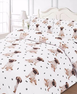 Pug Dog All Over Printed Bedding Duvet Cover And Pillowcase Set Single Bed Size