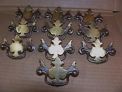 (10) Vintage Brass Finish Drawer Pulls / Handles -- Screws Included