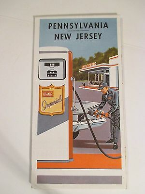 Vintage ATLANTIC PENNSYLVANIA NEW JERSEY Oil Gas Service Station Road Map
