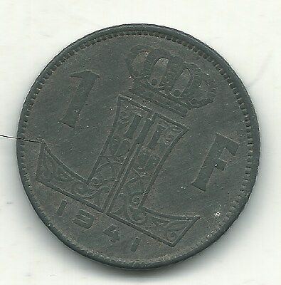Very Nice 1941 Belgium One 1 Franc Coin-Mar125