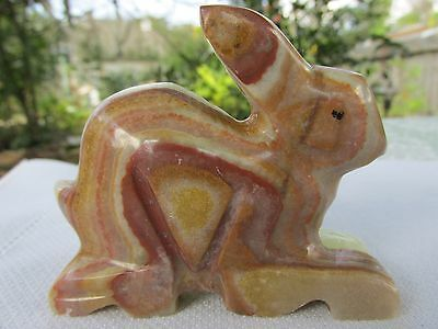 Carved Banded Stone Rabbit Bunny Figurine, Easter Animal Decor, Multi Color