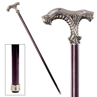 CLASSIC ORNATE HANDLE WALKING STICK DESIGN TOSCANO pewter cane  gentlemans cane
