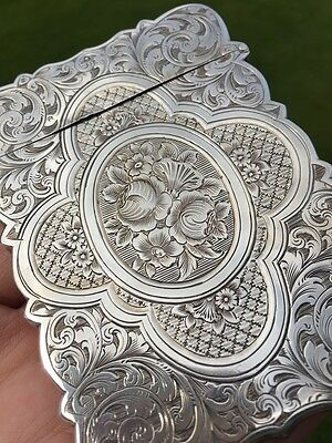 1860 Victorian Hilliard & Thomason Solid Silver Card Case (R1804)