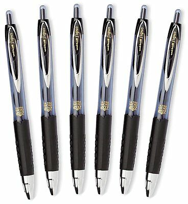 Uni-Ball Signo 207 Retractable Gel Pen, 0.38mm Ultra-Micro Point, Black, 6 Pack
