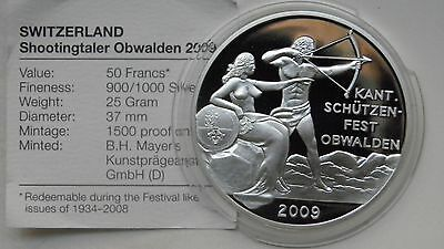 2009 Switzerland 50 Francs Shooting Thaler Silver Proof coin w/ CoA