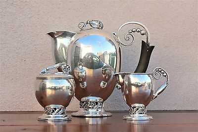 "3 piece Japanese 950 Silver Tea Service , in Style of George Jensen ""Blossom"""