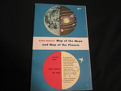 "Rand McNally Map of the Moon & Map of the Planets / 1958 41""X26"" One Sheet"
