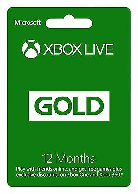 New Microsoft Xbox Live 1 Year (12 Months) gold Membership Subscription Card