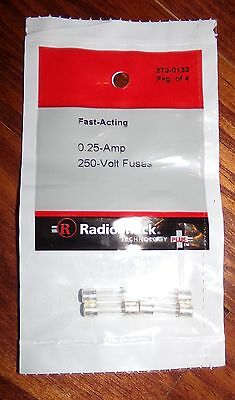 Radioshack Fuse Glass Fast Acting 0.25A 250V 5x20mm GMA Type(270-0133) Pkg Of 4