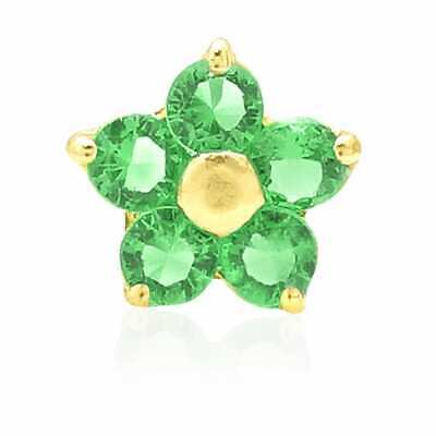 14K Yellow Gold Emerald Flower Shaped Nose Bone Stud Ring 20G