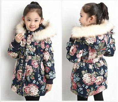 2017 new winter children's clothing girls thick fur collar coat casual jacket