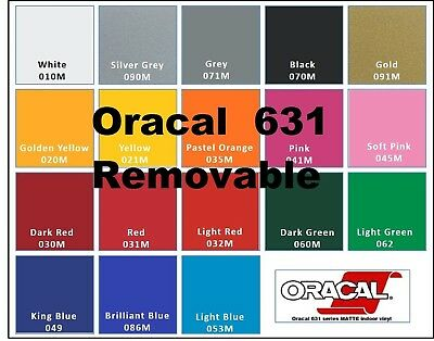 """12""""x24"""" Matte Oracal 631 Adhesive backed Vinyl for Cricket, Silhouette, cutters"""