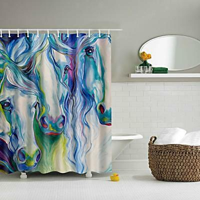 Bathroom Shower Divider Scarf Waterproof Fabric Curtain Hook Abstract Horses