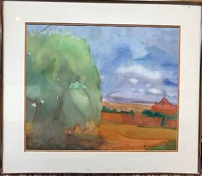 """San Ildefonso Pueblo, New Mexico"" Original Watercolor by Mavis Baumgart c.1990"