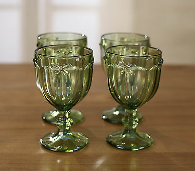 4 x Wine Glass Set Classic Green Stemware French Provincial Bee Glasses Cups