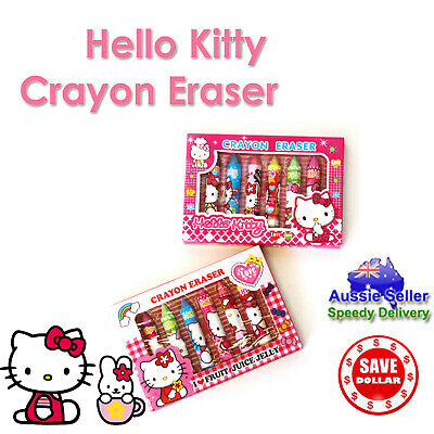 Hello Kitty Pen Design 6pc Eraser Set Stationery Crayon Shape Colour Cute Gift