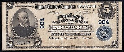 """Fr598 $5 """"the Indiana National Bank Of Indianapolis, Indiana"""" Ch #984 Bt6728"""