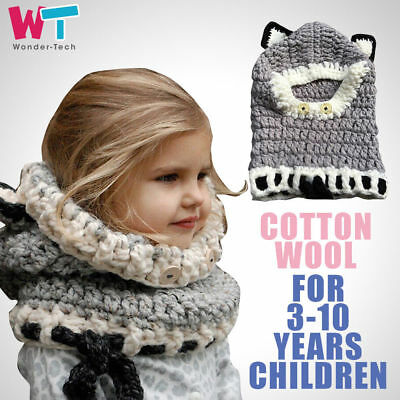 New Cute Toddler Kids Baby Warm Hooded Fox Knitted Crochet Hat Boy Girl Beanie
