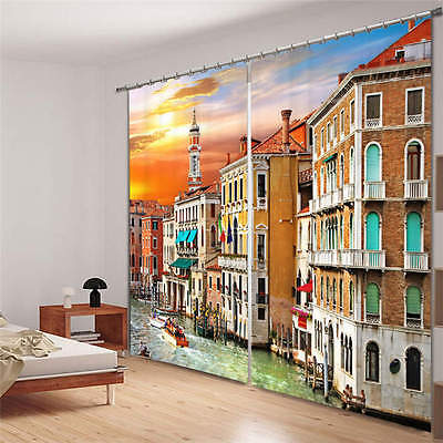 Grand Canal Water Traffic 3D Blockout Photo Printing Curtain Draps Fabric Window