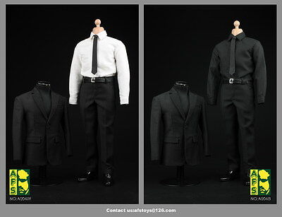 AFS A004W 1:6 White Shirt Black Suit Pants Shoes Full Set Male Clothing Costume