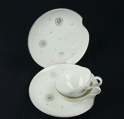 Summit Snack Plate and Tea Cup Star Burst Stardust White Silver Atomic 4 Pieces