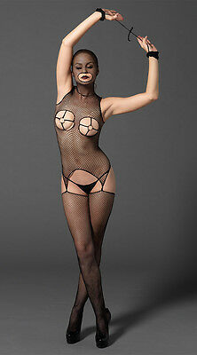 Fishnet Open Bust Suspender Bodystocking with O-Ring Cups & Mask Cupless Catsuit