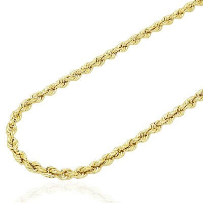 "14K Yellow Gold Hollow 4mm Rope Link Chain Necklace 18""-28"""