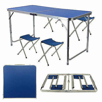 Portable Folding Table With 4 Chairs Set For Camping Party Picnic Garden Dining